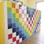 キッチンカウンターのタイル装飾